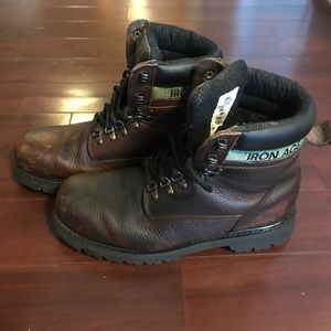 Iron Age Steel Toe Boots Leather Slip resistant